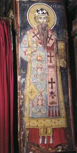 СВТ. КИРИЛЛ ПАТРИАРХ АЛЕКСАНДРИЙСКИЙ. ФРЕСКА ИХ ГЛАВНОГО ХРАМА АФОНСКОГО МОНАСТЫРЯ ГРИГОРИАТ. XVIII в.