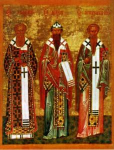 СВЯТИТЕЛИ АФАНАСИЙ И КИРИЛЛ АЛЕКСАНДРИЙСКИЕ И СВТ. ИГНАТИЙ БОГОНОСЕЦ. НОВГОРОДСКАЯ ИКОНА
