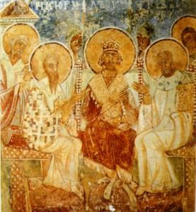 СВТ. КИРИЛЛ АЛЕКСАНДРИЙСКИЙ ПОУЧАЕТ В СОБОРЕ.РОСПИСЬ КИРИЛЛОВСКОЙ ЦЕРКВИ В КИЕВЕ. 1170-е гг.