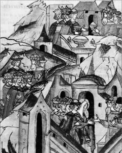 ВЕЛИКИЙ КНЯЗЬ ВАСИЛИЙ ДИМИТРИЕВИЧ В ГОСТЯХ У ВЕЛИКОГО КНЯЗЯ ЛИТОВСКОГО ВИТОВТА. МИНИАТЮРА. XVI в.
