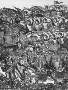 ВИДЕНИЕ ВО ВРЕМЯ БИТВЫ СВЯТОГО ВОИНСТВА ВО ГЛАВЕ С АРХИСТРАТИГОМ БОЖИИМ МИХАИЛОМ. МИНИАТЮРА. XVI в.