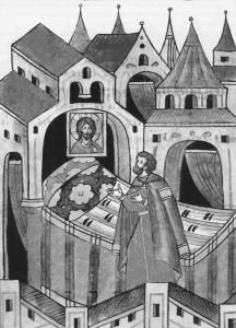 МОЛИТВА ВЕЛИКОГО КНЯЗЯ ДИМИТРИЯ ПЕРЕД ИКОНОЮ СПАСИТЕЛЯ. МИНИАТЮРА ЛИЦЕВОГО ЛЕТОПИСНОГО СВОДА XVI в.