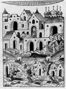 МОР В МОСКВЕ. МИНИАТЮРА ЛИЦЕВОГО ЛЕТОПИСНОГО СВОДА XVI в.