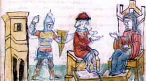 КНЯГИНЯ ОЛЬГА С СЫНОМ СВЯТОСЛАВОМ В 946 г. МИНИАТЮРА РАДЗИВИЛЛОВСКОЙ ЛЕТОПИСИ