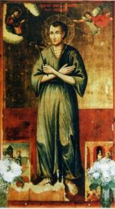 СВ. ПРАВЕДНЫЙ ИОАНН РУССКИЙ. ИКОНА. 1790 г. ОСТРОВ ЭВБЕЯ