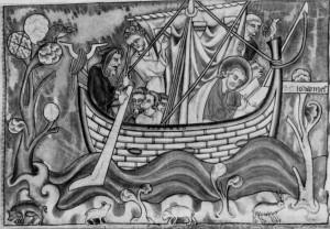 СВ. АПОСТОЛ ИОАННА БОГОСЛОВ В ЛОДКЕ ПЛЫВУЩЕЙ НА ОСТРОВ ПАТМОС. МИНИАТЮРА ИЗ АПОКАЛИПСИСА XIII в