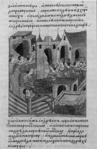 ЛУКА КОЛОЧСКИЙ И МЕДВЕДЬ. МИНИАТЮРА. XVI в.