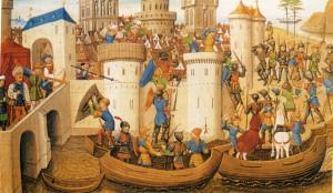 ЗАВОЕВАНИЕ КОНСТАНТИНОПОЛЯ КРЕСТОНОСЦАМИ В 1204 г. ФРАНЦУЗСКАЯ МИНИАТЮРА. 1462 г.
