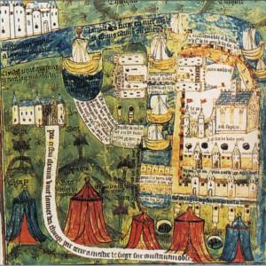 ВЗЯТИЕ КОНСТАНТИНОПОЛЯ ТУРКАМИ В 1453 г. ФРАНЦУЗСКАЯ МИНИАТЮРА. XV в.