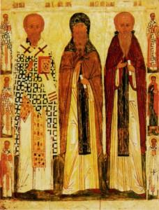 Свт. Николай Чудотворец прп. Антоний Великий и прп. Афанасий Афонский. Икона XVI в. (ЦМИАР)