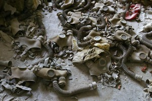 Abandoned gas masks lay on the floor in