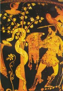 МЕДЕЯ ПОМОГАЕТ ЯСОНУ ПОХИТИТЬ ЗОЛОТОЕ РУНО. IV в. до Р. Х. НЕАПОЛЬ. АРХЕОЛОГИЧЕСКИЙ МУЗЕЙ