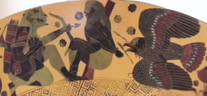 ГЕРАКЛ ПРИХОДИТ НА ПОМОЩЬ ПРОМЕТЕЮ. РИСУНОК 610 г. до Р. Х. АФИНЫ