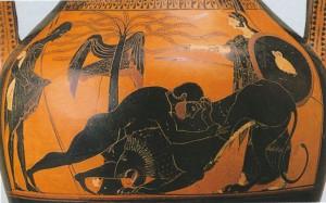 БОРЬБА ГЕРАКЛА С НЕМЕЙСКИМ ЛЬВОМ. АМФОРА. 520 г. до Р. Х. БРЕШИЯ