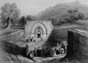 ВИД НА ПОГРЕБАЛЬНУЮ ПЕЩЕРУ ПРЕСВЯТОЙ БОГОРОДИЦЫ В ГЕФСИМАНИИ. ИЕРУСАЛИМ. ГРАВЮРА 1844 г.