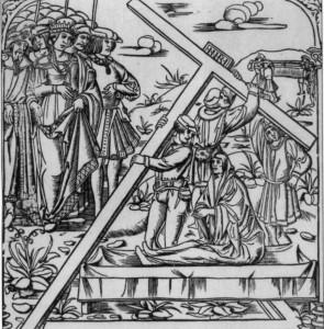 ЧУДО ВОСКРЕШЕНИЕ УМЕРШЕГО КРЕСТОМ ГОСПОДНИМ. ГРАВЮРА 1500 г.