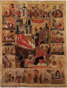 РОЖДЕСТВО БОГОМАТЕРИ С ЖИТИЕМ. XVI в. УСТЮЖЕНСКИЙ КРАЕВЕДЧЕСКИЙ МУЗЕЙ