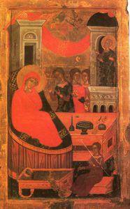 РОЖДЕСТВО БОГОМАТЕРИ. ГРЕЧЕСКАЯ ИКОНА. XVI в.