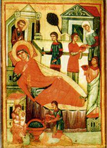 РОЖДЕСТВО ПРЕСВЯТОЙ БОГОРОДИЦЫ. ИКОНА XVI в. СИНАЙ