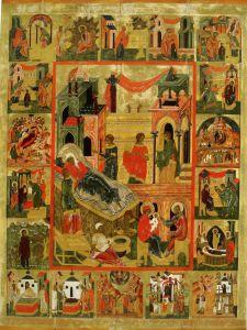 РОЖДЕСТВО БОГОМАТЕРИ С ЖИТИЕМ ИОАКИМА И АННЫ.ИКОНА XVI в. ВОЛОГДА