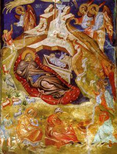 РОЖДЕСТВО ХРИСТОВО. ФРЕСКА ЦЕРКВИ СВ. ВМЧ. ГЕОРГИЯ В УБИСИ. ГРУЗИЯ. XIV в.