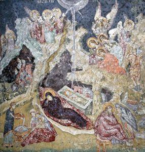 РОЖДЕСТВО ХРИСТОВО. ФРЕСКА В ХРАМЕ СВ.АПОСТОЛОВ В ПЕЧСКОМ МОНАСТЫРЕ. СЕРБИЯ. XIV в.