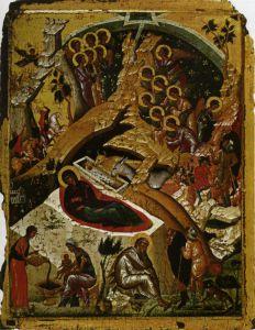 РОЖДЕСТВО ХРИСТОВО. ГРЕЧЕСКАЯ ИКОНА XIV в. АФИНЫ