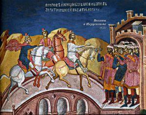ВОЛХВЫ В ИЕРУСАЛИМЕ. СЕРБИЯ. МОНАСТЫРЬ ДЕЧАНЫ. XIV в.
