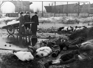 БЛОКАДНЫЙ ЛЕНИНГРАД. ВОЛКОВО КЛАДБИЩЕ. 1942 г.