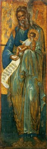СВ. ПРАВЕДНЫЙ СИМЕОН БОГОПРИИМЕЦ. ИКОНА. XVI в. СИНАЙ