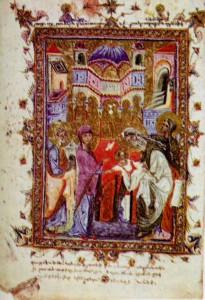 СРЕТЕНИЕ ГОСПОДНЕ. МИНИАТЮРА ИЗ ЧАШОЦА. МАСТЕР ТОРОС РОСЛИН. 1286 г. КИЛИКИЯ. АРМЕНИЯ