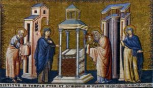 СРЕТЕНИЕ ГОСПОДНЕ. МОЗАИКА ЦЕРКВИ САНТА-МАРИЯ-ИН- ТРАСТЕВЕРЕ В РИМЕ. 1291 г.