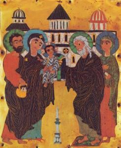 СРЕТЕНИЕ ГОСПОДНЕ. ЭМАЛЬ. КОНЕЦ XII -НАЧАЛО XIII вв. ГРУЗИЯ. ТБИЛИСИ