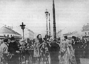 КРЕСТНЫЙ ХОД С УЧАСТИЕМ ПАТРИАРХА ТИХОНА. МОСКВА. 1918 г.