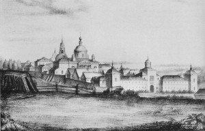 ПОКРОВСКИЙ ХОТЬКОВ МОНАСТЫРЬ. ГРАВЮРА 1843 г.