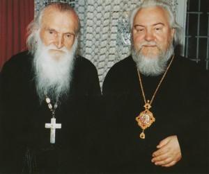 ВЛАДЫКА ПРОКЛ С ДУХОВНИКОМ - ПРОТОИЕРЕЕМ ВАСИЛИЕМ ШВЕЦОМ. 1991 г.