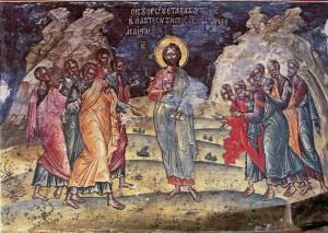 ВОСКРЕСШИЙ ХРИСТОС В ГАЛИЛЕЕ. ФРЕСКА. XVI в. АФОН