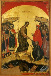 ВОСКРЕСЕНИЕ ХРИСТОВО (СОШЕСТВИЕ ВО АД). ИКОНА 1546 г. АФОН. МОНАСТЫРЬ СТАВРОНИКИТА