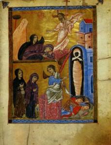 ВОСКРЕСЕНИЕ ХРИСТОВО. МИНИАТЮРА. МАЛАТИЙСКОЕ ЕВАНГЕЛИЕ. 1267-1268 гг. АРМЕНИЯ