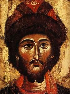 СВЯТОЙ КНЯЗЬ БОРИС. ФРАГМЕНТ ИКОНЫ (1301-1325)