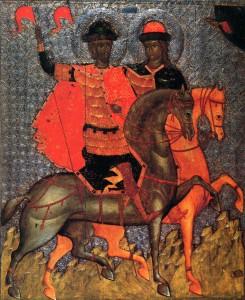 СВВ. БОРИС И ГЛЕБ. ИКОНА. 1377 г.