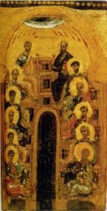 СОШЕСТВИЕ СВ. ДУХА НА АПОСТОЛОВ. ИКОНА. XII в. ВИЗАНТИЯ (ГЭ)