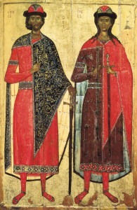 СВВ. БОРИС И ГЛЕБ. ИКОНА. XIV в. МОСКВА