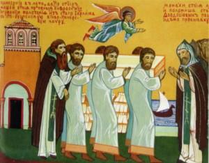 РУССКИЕ ИНОКИ ПЕРЕНОСЯТ МОЩИ ПРП. ЕВФРОСИНИИ ИЗ ИЕРУСАЛИМА В КИЕВО-ПЕЧЕРСКУЮ ЛАВРУ. КЛЕЙМО ЖИТИЙНОЙ ИКОНЫ