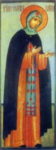 ПРП. ЕВФРОСИНИЯ ПОЛОЦКАЯ. ИКОНА XVII в. МОСКВА. НОВОДЕВИЧИЙ МОНАСТЫРЬ
