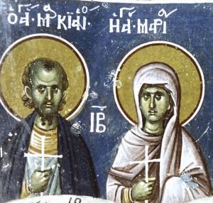 Мученики Маркиан и Мария Голиндуха. Фреска
