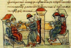 ВИЗАНТИЙСКИЕ ИМПЕРАТОРЫ ВАСИЛИЙ II И КОНСТАНТИН VII ОТПУСКАЮТ С ДАРАМИ ПОСЛОВ КНЯЗЯ ВЛАДИМИРА. МИНИАТЮРА РАДЗИВИЛЛОВСКОЙ ЛЕТОПИСИ. XV в.