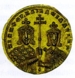 ЗОЛОТАЯ МОНЕТА С ИЗОБРАЖЕНИЕМ ИМПЕРАТОРА ВАСИЛИЯ II БОЛГАРОБОЙЦЫ