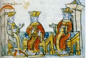 ВИЗАНТИЙСКИЕ ИМПЕРАТОРЫ ВАСИЛИЙ II И КОНСТАНТИН VII УБЕЖДАЮТ СЕСТРУ АННУ СТАТЬ ЖЕНОЙ ВЕЛ КНЯЗЯ ВЛАДИМИРА. МИНИАТЮРА РАДЗИВИЛЛОВСКОЙ ЛЕТОПИСИ. XV в.