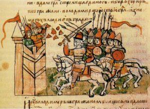 ОСАДА КОРСУНИ (ХЕРСОНЕСА) ВОЙСКАМИ КНЯЗЯ ВЛАДИМИРА. МИНИАТЮРА РАДЗИВИЛЛОВСКОЙ ЛЕТОПИСИ XV в.